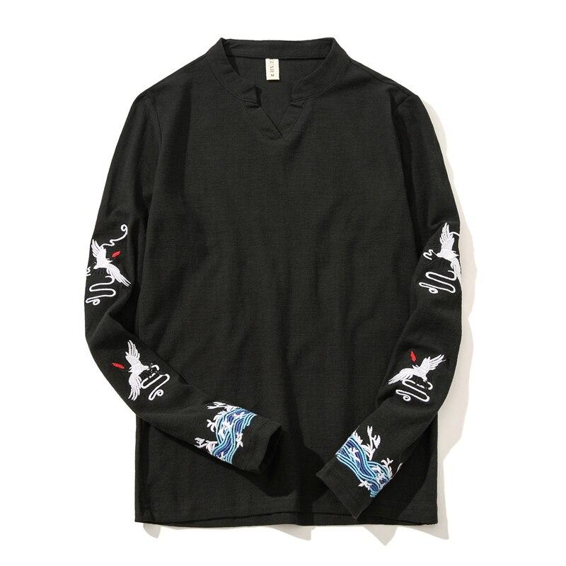 2020 new mens embroidered tshirt long sleeve large size 5xl t shirt men white khaki black cotton linen tshirts Summer and autumn