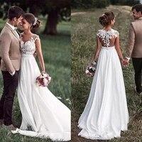 2021 elegant white deep o neck illusion back cap sleeve chiffon side slit beach wedding dress bridal gown vestido de noiva