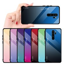 For Xiaomi Mi 9 SE 9T F1 MiA2 A3 Lite 9H Hard Glass Gradient Protect Cover case For Redmi 6 7 A K20 Note 8 5 6 7 Pro phone shell