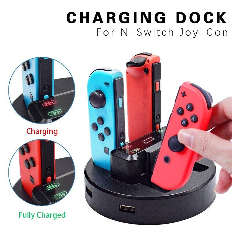 Trilho de recarga joy-con para nintendo switch, estação de carregamento com led, suporte com cabo micro usb