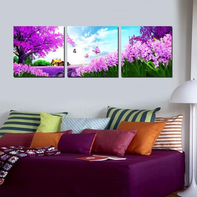 1pcs Purple Flower Oil Painting Canvas Mural, Home Decor Living Room Canvas Print Modern Painting Frameless