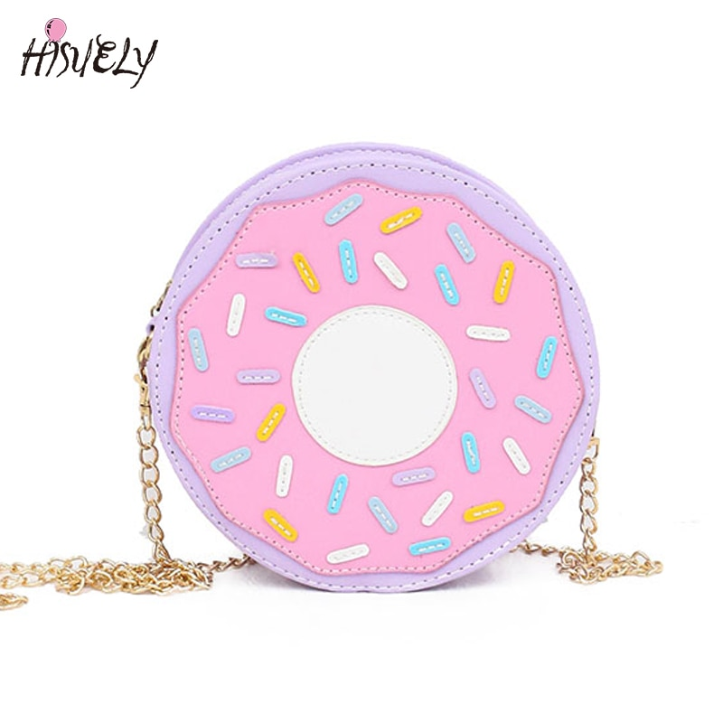 2021 New Arrival Funny fashion Three-dimensional donuts style messenger bag chain soft small harajuku handbag Hot Cute CartoonQ5