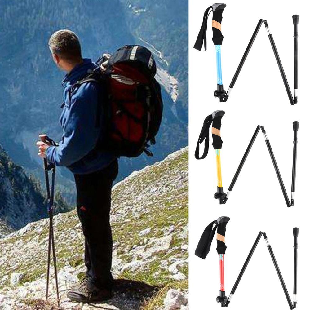 Portable Handle Camping Aluminum Alloy Folding Walking Trekking Hiking Stick Pole hiking stick crutches