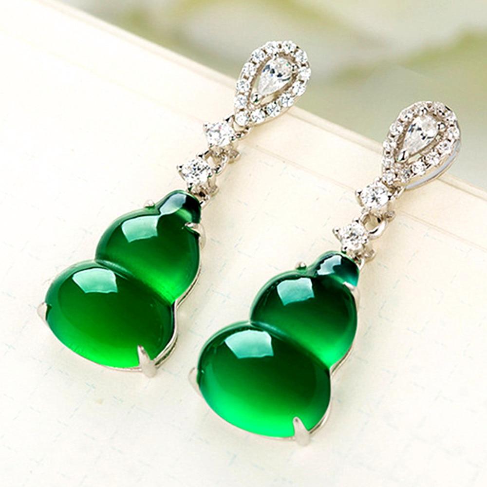 Onyx stone Green jade dangle drop women earrings emerald gemstone zircon diamonds white gold silver color party jewelry gifts