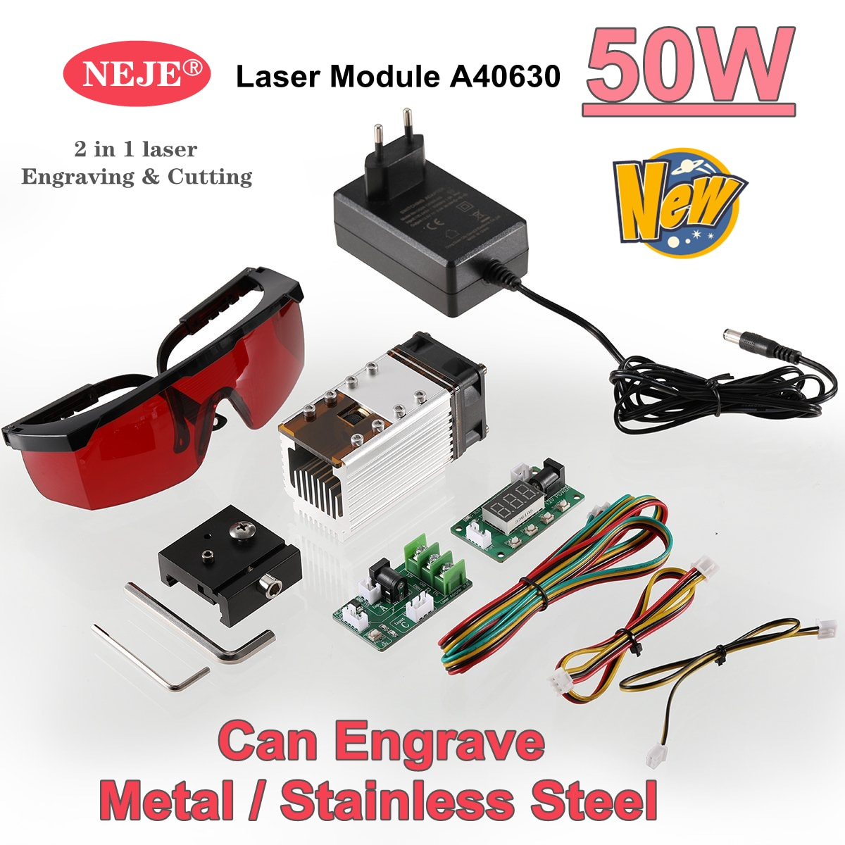 NEW NEJE A40630 50W Laser Module Kits High Speed Engrave Metal/Stainless Steel for Profession CNC Laser Engraver Cutting Machine