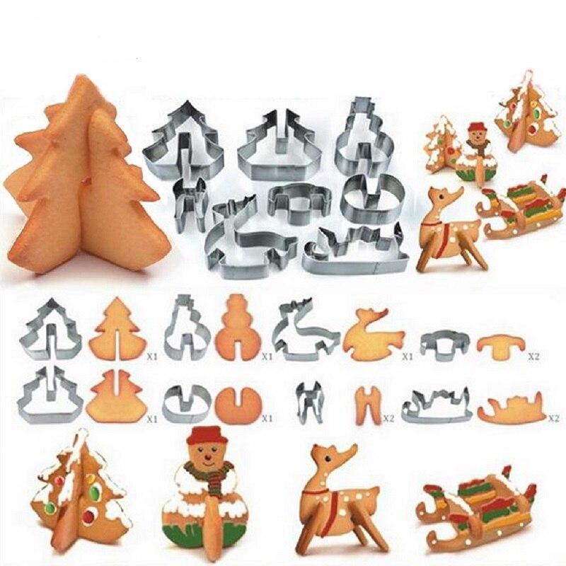 8 unids/set de acero inoxidable 3D Navidad galletas cortador de tarta molde de galleta Fondant cortador DIY herramienta de hornear
