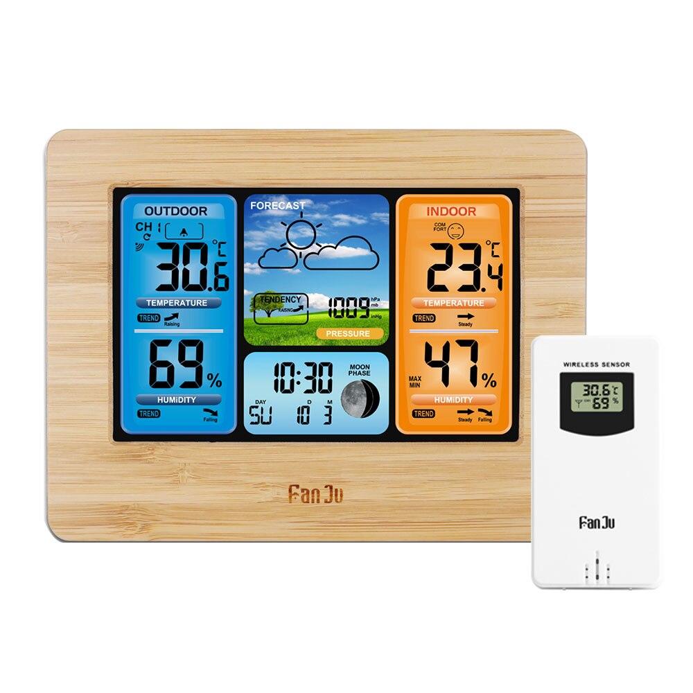 FJ3373 pared escritorio reloj despertador estación meteorológica Digital termómetro higrómetro Sensor inalámbrico previsión temperatura reloj
