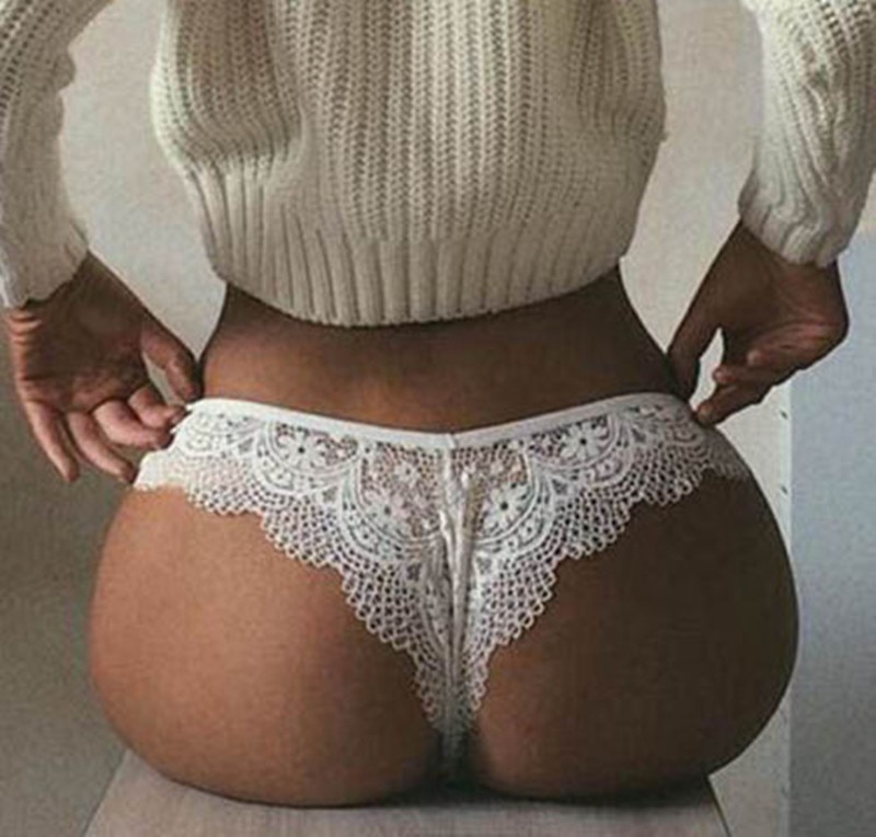 Women Sexy Lace Lingerie Temptation Low-waist Panties Embroidery Thong Transparent Hollow out Underw