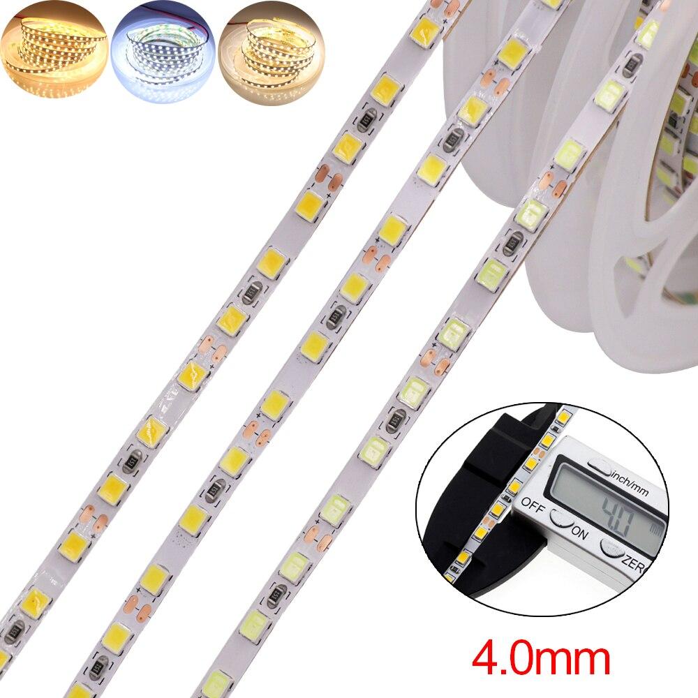12V 5M LED Light Strip SMD 2835 120leds/m Flexible Light Rope Tape 4mm PCB Backlight High brightness Led Strip 3 Colors