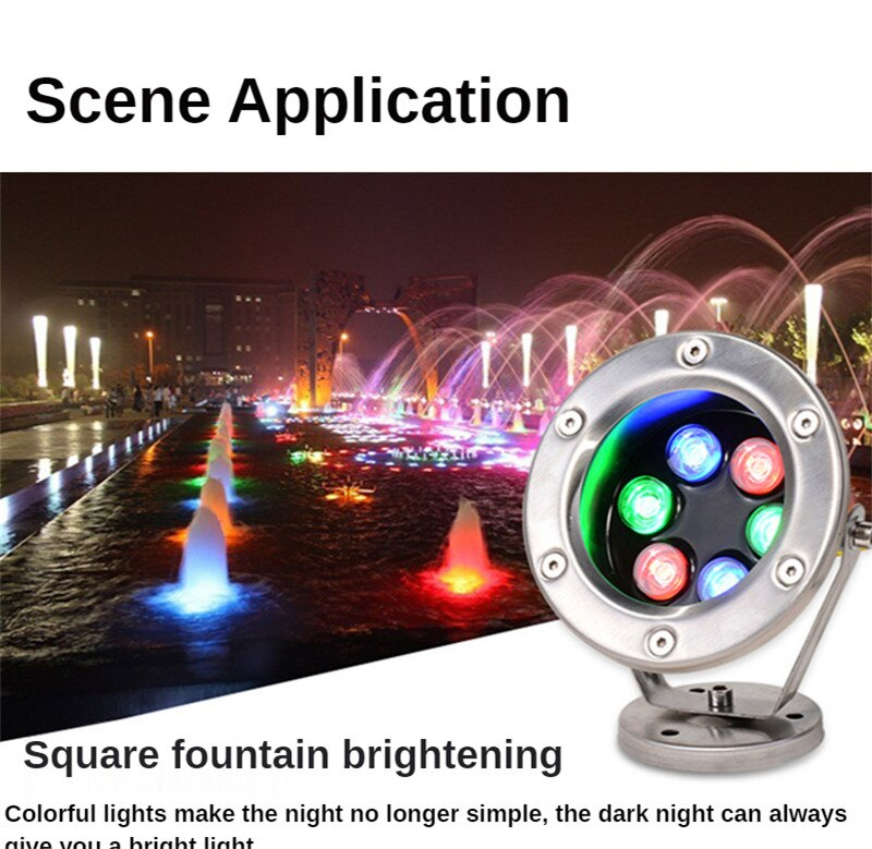 Waterfall Pool LED Stainless Steel Underwater Light Colorful Fountain Spotlight 12V 24V 15W 18W Zwembad Verlichting Submersible enlarge