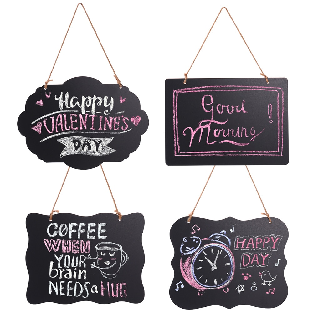 HOMEMAXS 4pcs Mini Rectangle Diverse Styles Chalkboard Double Sided Message Board with String for Message Board Sign (Black)