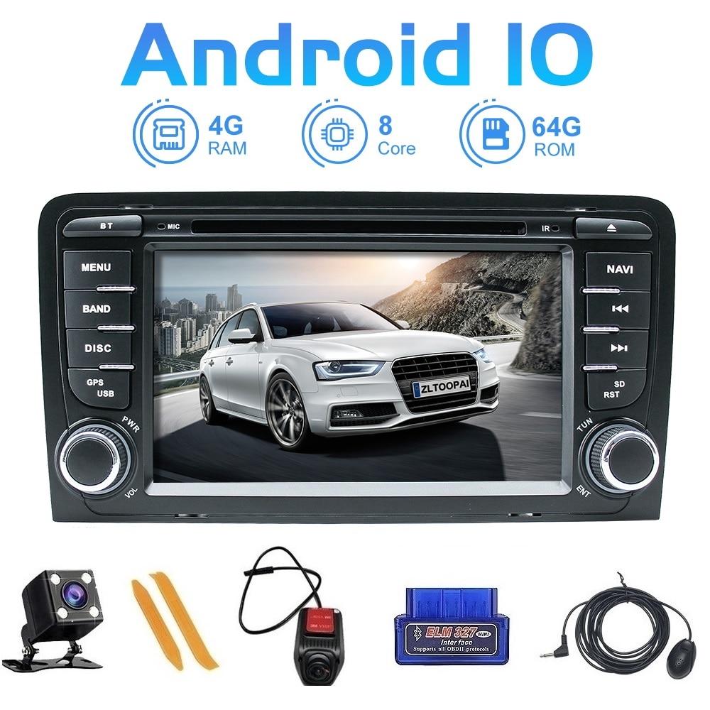 ZLTOOPAI coche reproductor Multimedia Android 10,0 para Audi A3 S3 2002-2013 REPRODUCTOR DE DVD navegador GPS DSP USB DVR SWC IPS + regalo