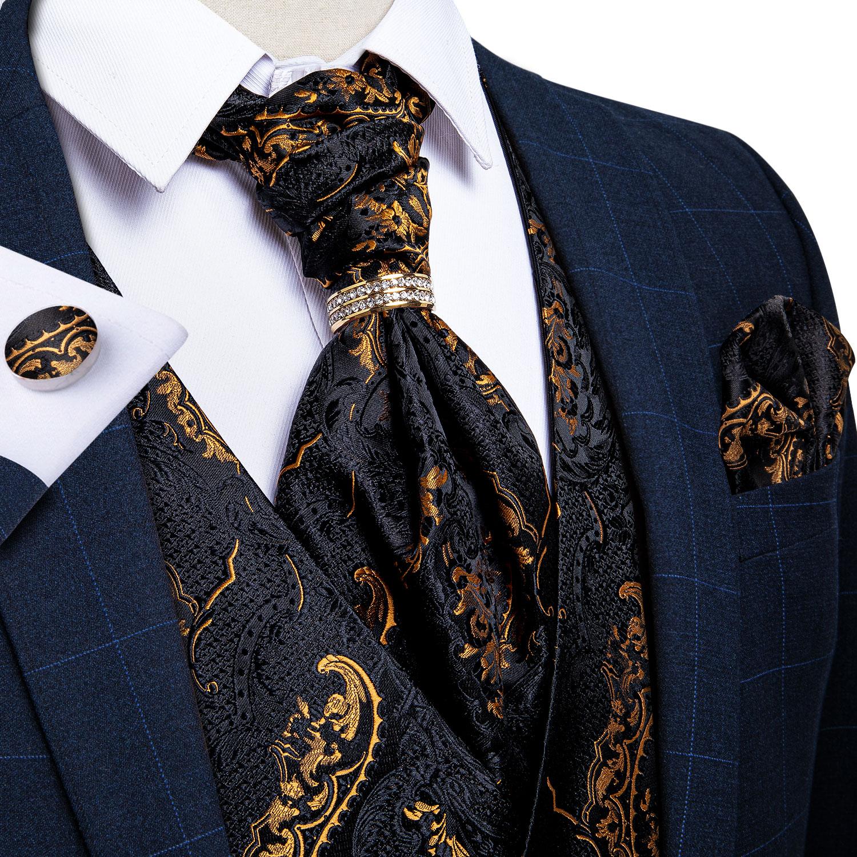 DiBanGu-صدرية من الحرير الذهبي للرجال ، طقم من قطعتين مع ربطة عنق مربعة ، بدون أكمام ، للفستان الرسمي أو الزفاف