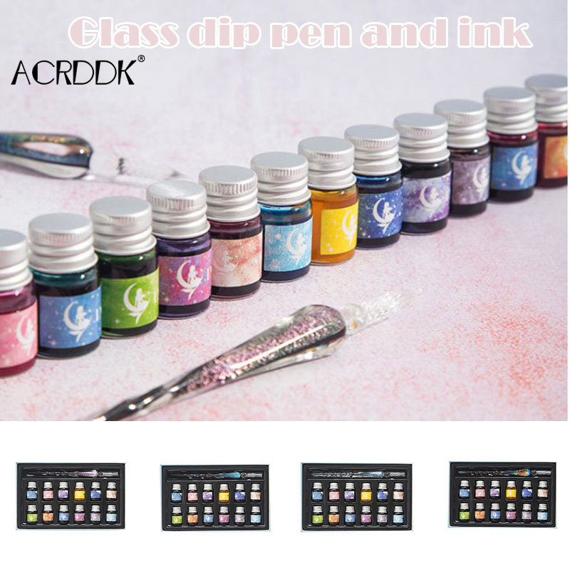 Crystal Starry Sky Glass Pen and Ink Set Glass Dip Pen Fountain Pen Inks for Writing Drawing Office School Supplies FL