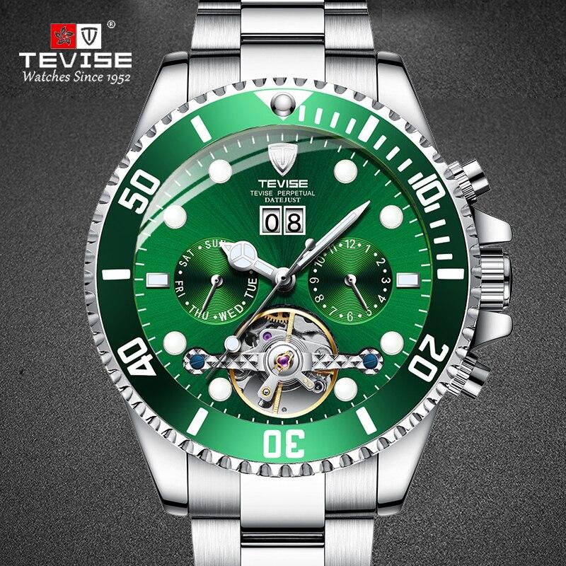 TEVISE-ساعة يد رجالية ، أوتوماتيكية ، ميكانيكية ، أعمال ، فاخرة ، بسوار من الفولاذ المقاوم للصدأ ، 2020