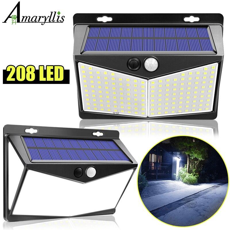 Luces solares al aire libre 208Leds Ip65 impermeable Sensor de movimiento inalámbrico luz 270 ° Gran Angular luces de pared lámpara Solar con 3 modos
