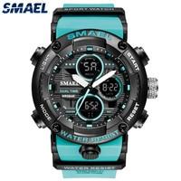 Часы SMAEL мужские, спортивные, армейские для плавания, с двойным дисплеем, аналоговые, цифровые, светодиодные, электронные, кварцевые, водонеп...