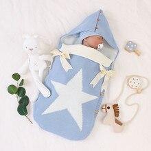 Couverture de bébé chaud tricoté nouveau-né emmailling couverture étoile nœud papillon tricoté lange demmaillotage doux bébé emmaillotage couverture sacs de couchage