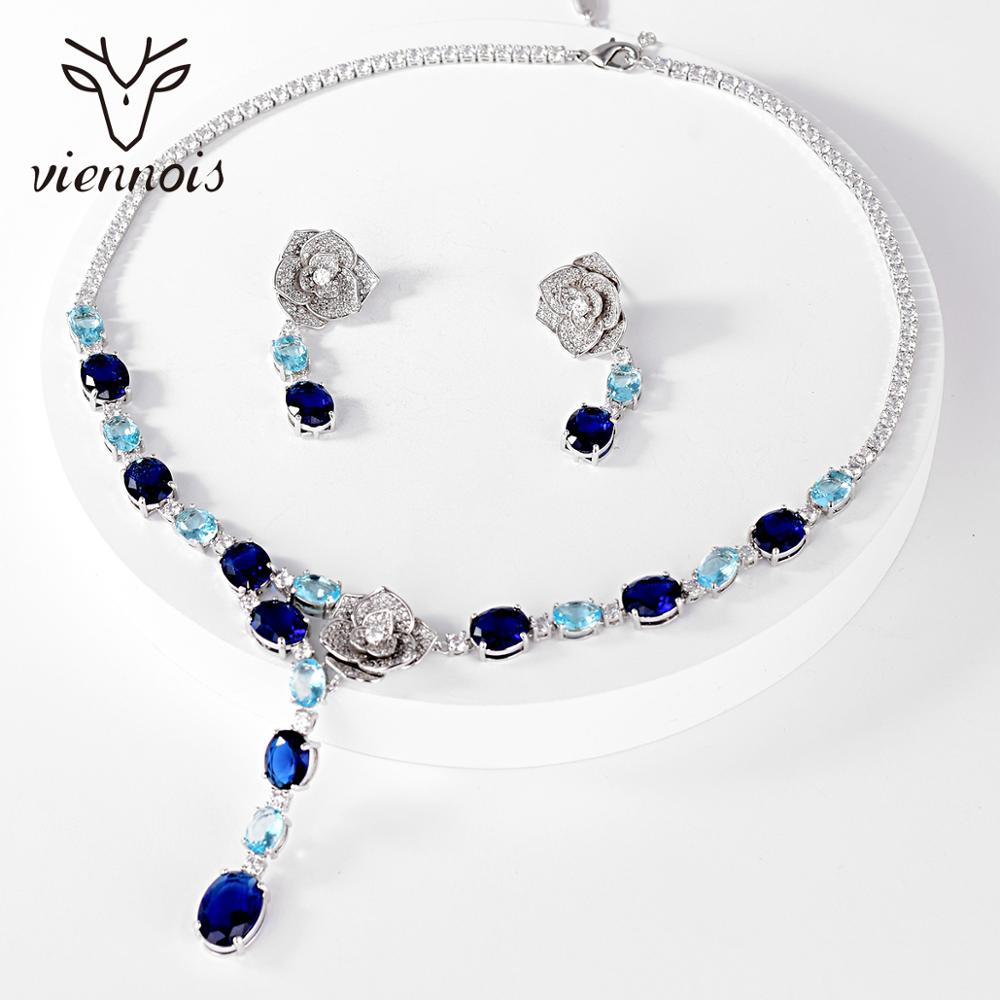 Get Viennois Luxury Jewelry Set For Women Mix Color Rhinestone Pendant Necklace and Earrings Jewelry Set Bridal jewelry set
