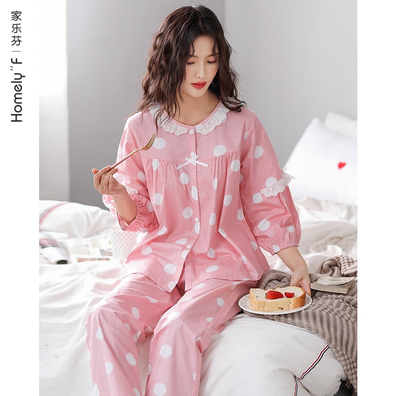 Pajamas WOMEN'S Spring and Summer Long Sleeve Cotton Clothing Cotton Spring and Autumn Thin Air Cond