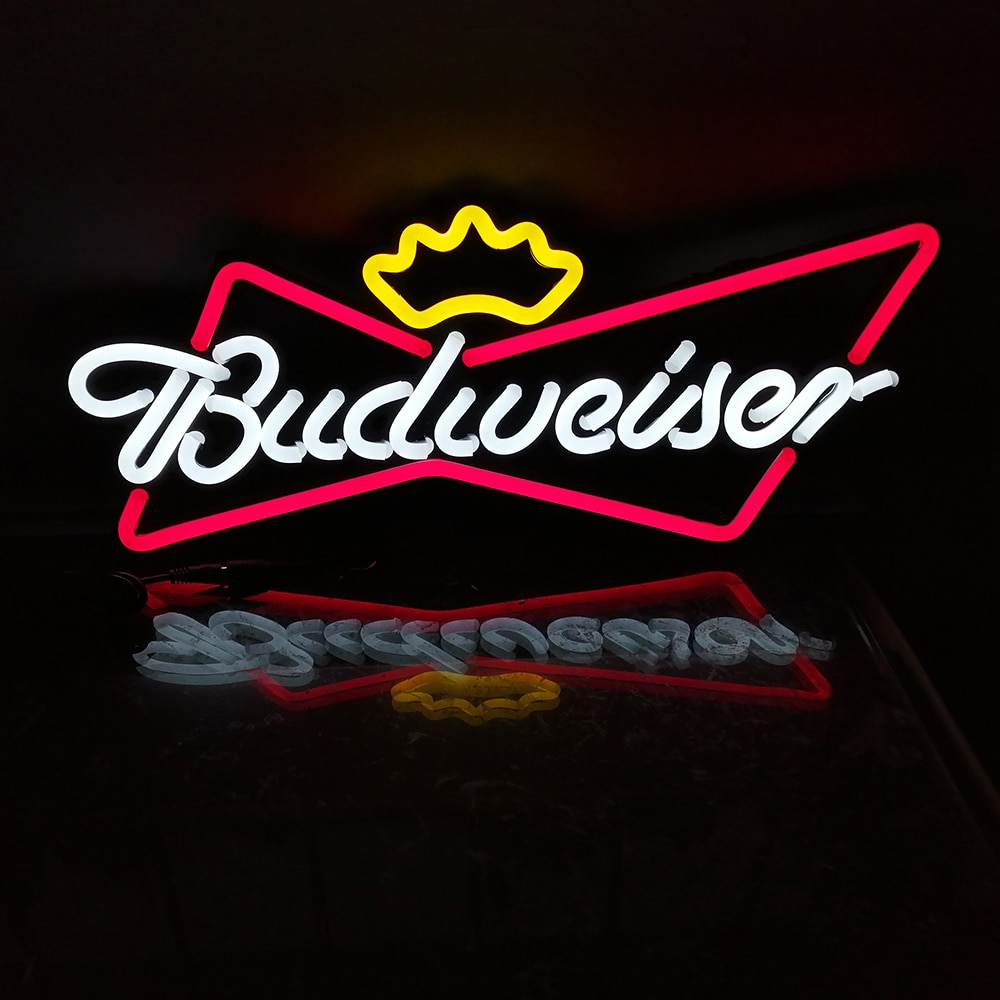 20'' Budweiser King Beer Bar Pub Club Ad Light Sign Home Decor Crafts LED Neon Light Sign Custom Neon Led Lights