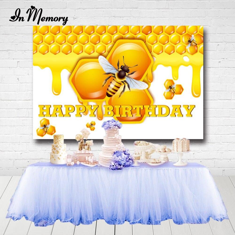 InMemory amarillo dulce abeja día Backdrops recién nacido fiesta de bienvenida para el futuro bebé niños 1er cumpleaños fotografía para fiesta fondos personalizados Photocall