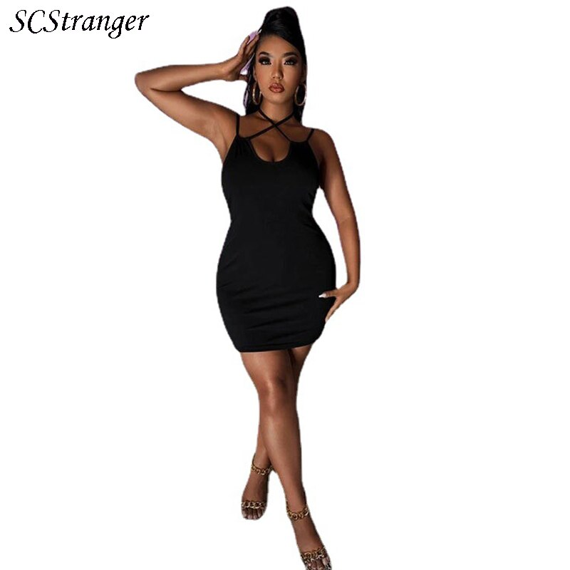 Summer Black Dress Drawstring Spaghetti Straps Cowl O Neck Backless Mini Dresses Plus Size For Women Party Sexy Vestidos 2021
