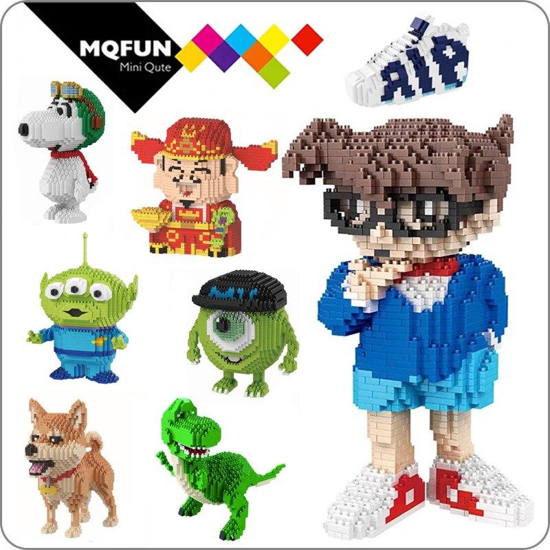 BABU cartoon Anime mike Conan Monster university animal dog cat kids plastic building block action figures boys educational toy