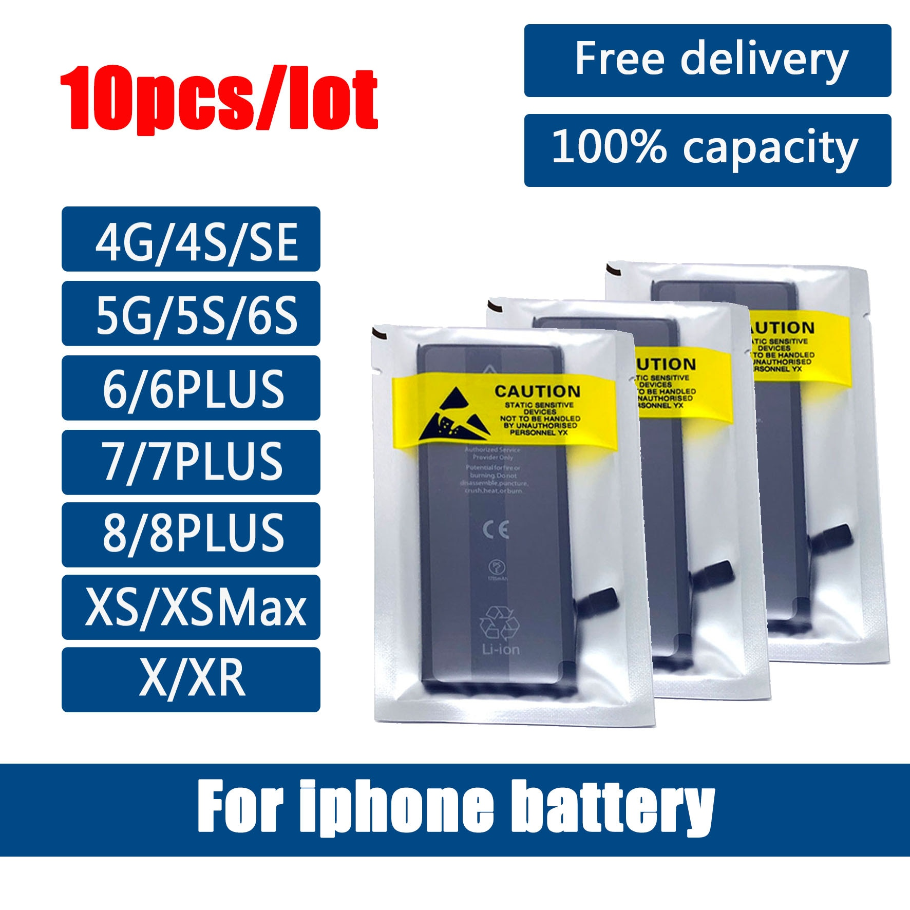 10pcs/Lot 0 cycle seal oem mobile phone battery pack for iPhone 4 4S 5 5S 5C SE 6 6S 7 8 Plus X XR XS Max battery