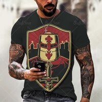 tough guy men crusade summer classic retro casual digital 3d printing round neck loose short sleeve t shirt