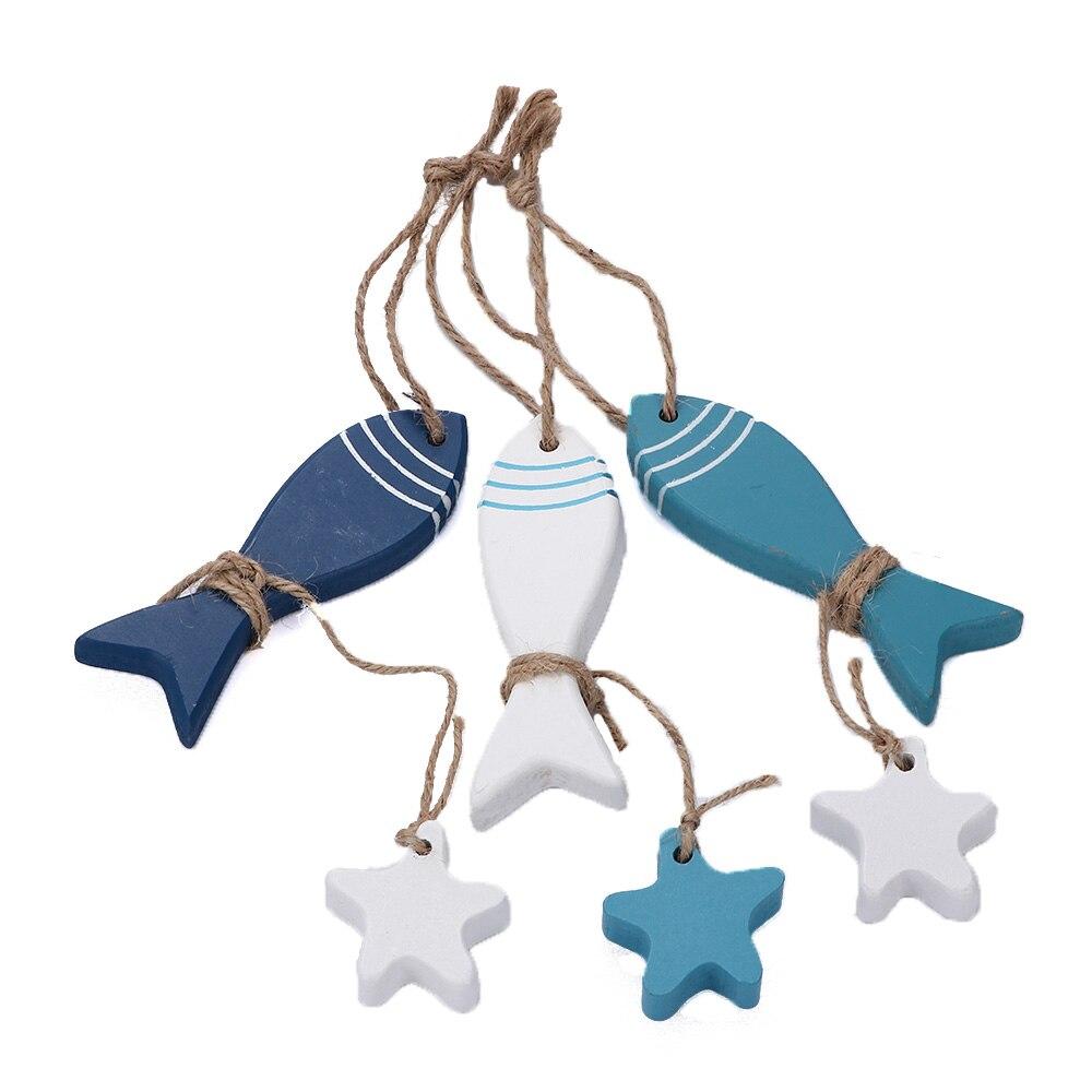Mediterranean Starfish Fish Nautical Decor hang small adorn Crafts Wood Fish/decorated marine pendant Home Decoration