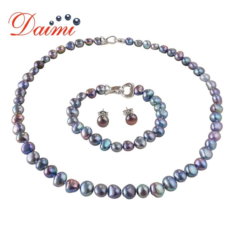 DMSFP100 Ювелирные наборы из жемчуга в стиле барокко серебряные ювелирные изделия 925 жемчужные наборы ожерелье/браслет/серьги для женщин