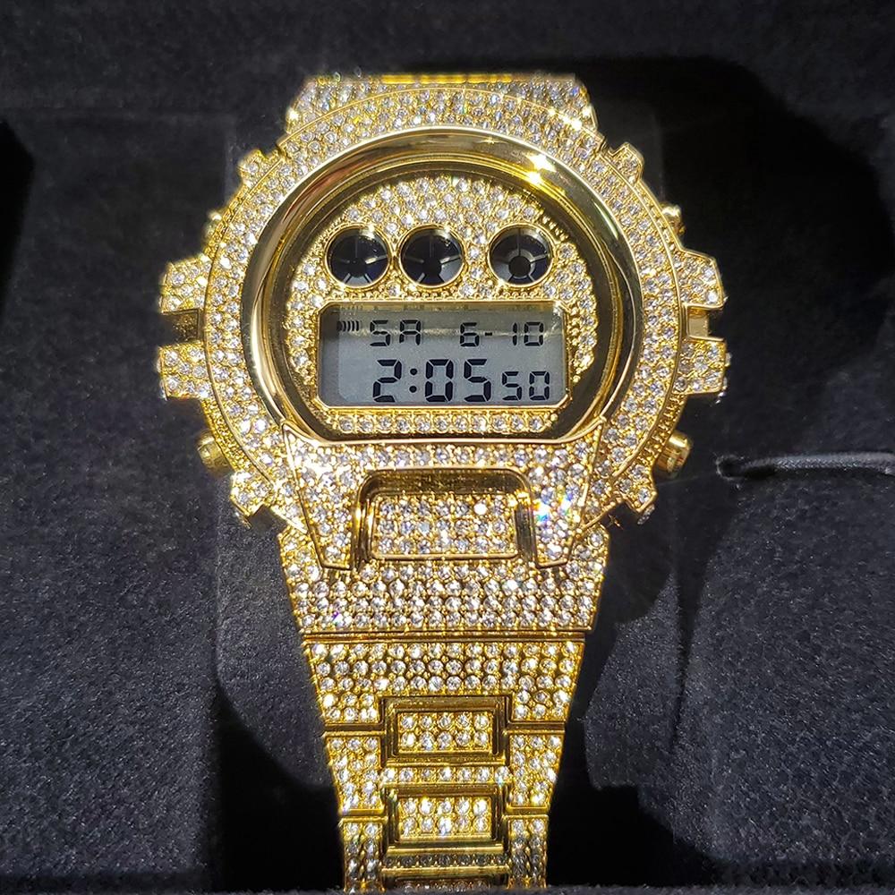 Hip Hop MISSFOX Top Brand Luxury Date Men Digital Wrist Watch Waterproof AAA Iced Out Stainless Stee