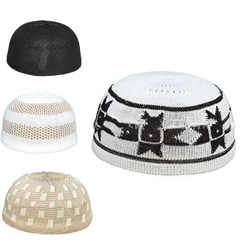 Gorro musulmán 2020 para hombre, sombrero islámico de oración, banda de punto para la cabeza, sombreros