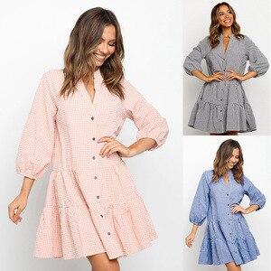 2021New women's fashion long sleeve Lapel short Plaid Dress Free shipping