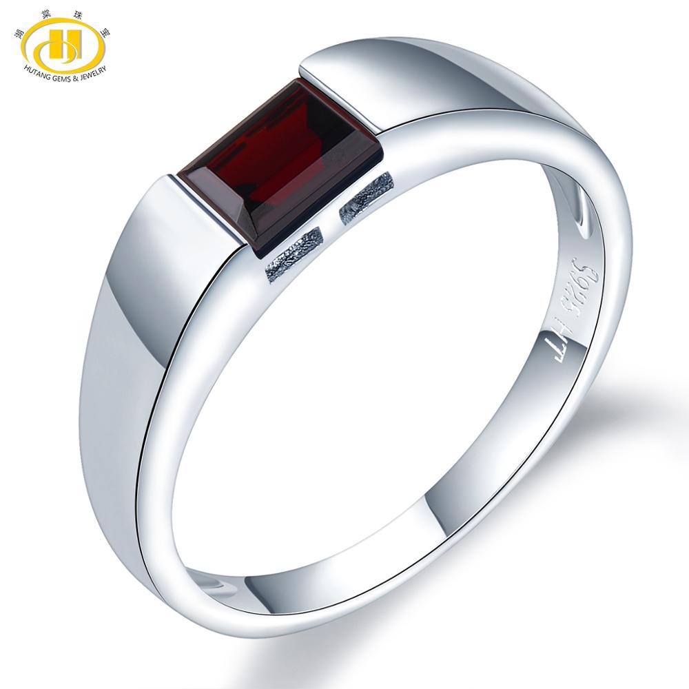 Hutang natural pedra preciosa anel masculino feminino, 0.68ct preto garnet 925 prata anéis esmeralda corte jóias finas para melhor presente
