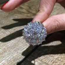 خواتم 925 من الفضة الإسترليني اللون على شكل زهرة كبيرة من حجر الزركون للنساء مجوهرات خطوبة زفاف أنيقة 2019
