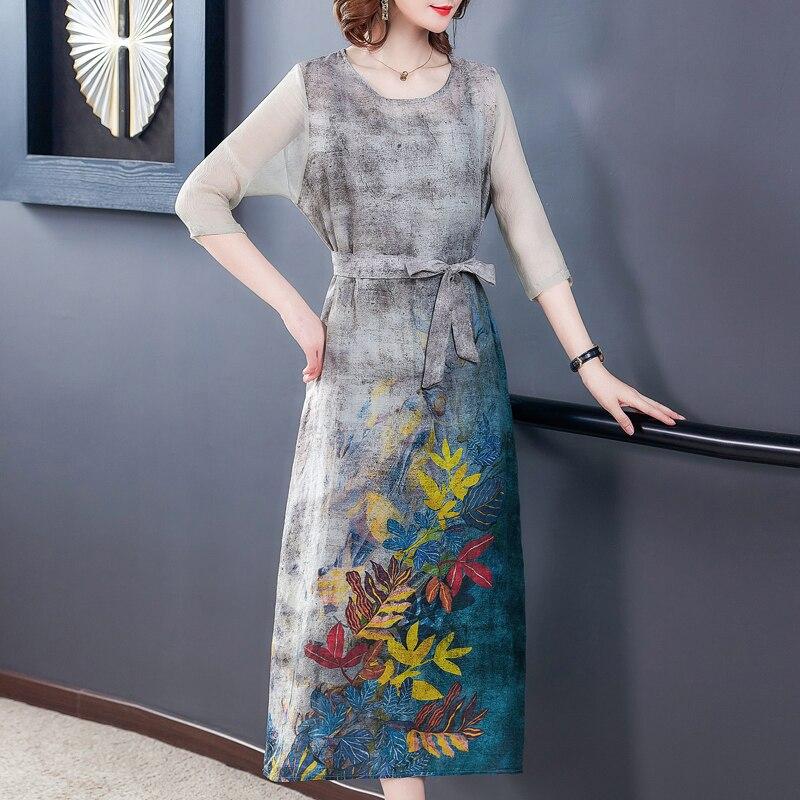 Plus size Women Dresses summer silk dress female Loose beach floral boho dresses elegant vintage party dress vestidos  L-5XL