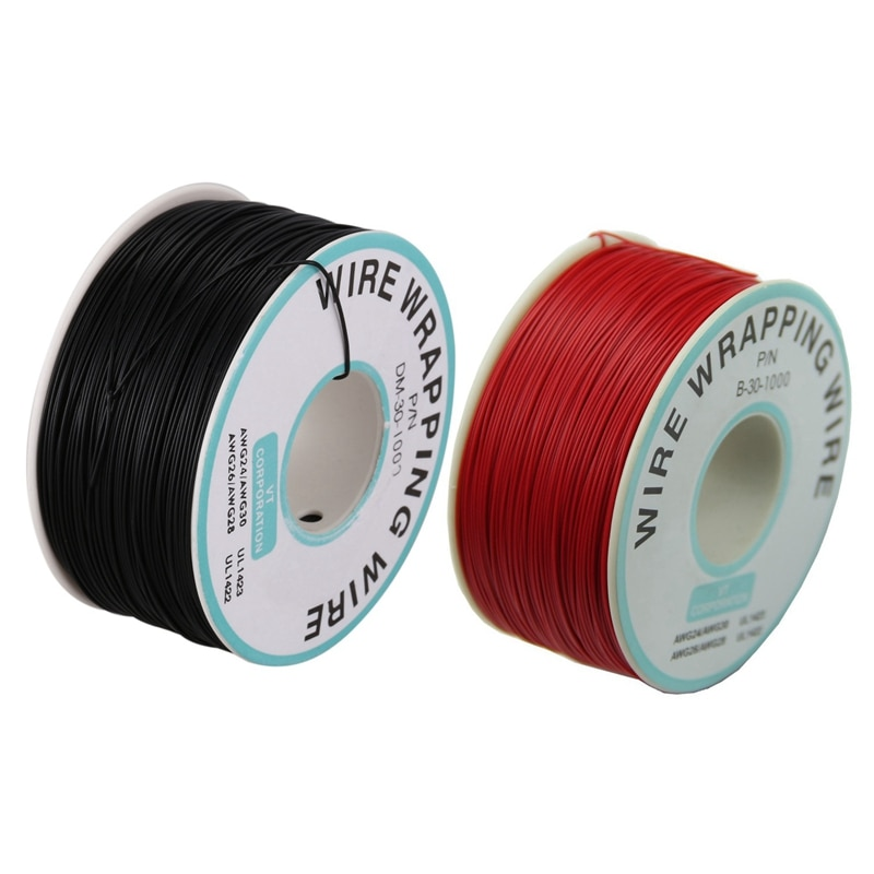 1 Uds. De alambre para envolver y 1 Uds. De alambre para envolver 30AWG Cable P/N B-30-100 alambre de cobre Chapado en estaño carrete de Cable negro 0,25 Mm W