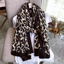 Écharpe dhiver de marque de luxe, foulard léopard femmes, Pashminas doux, châles et écharpes Hijab musulman, imprimé animal Leopardo,cape