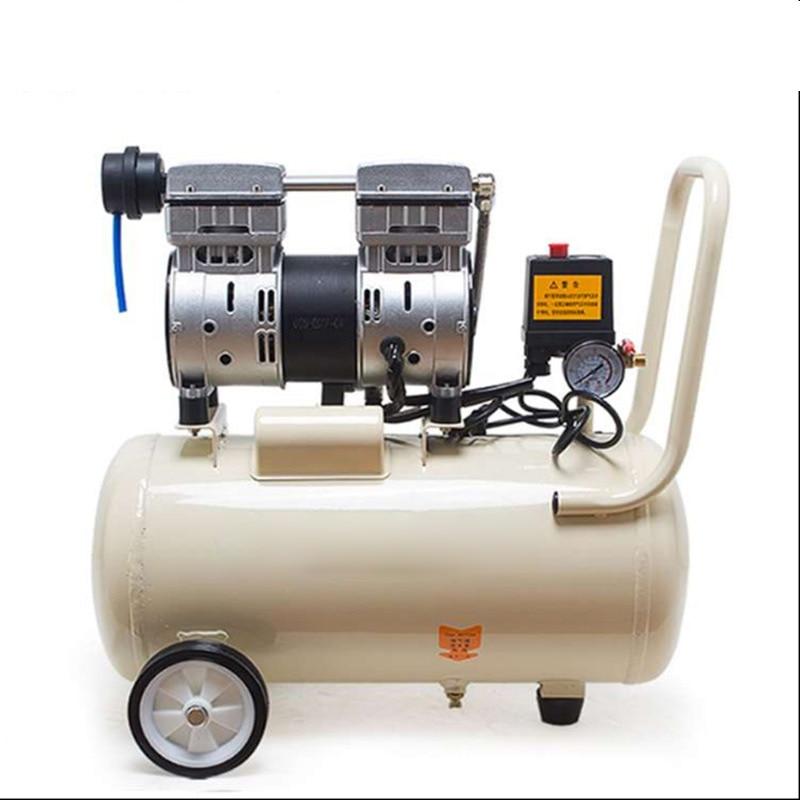ضاغط هواء متنقل 30 لتر لمختبر الأسنان ، جهاز ضاغط هواء صامت صغير خالٍ من الزيت 220 فولت