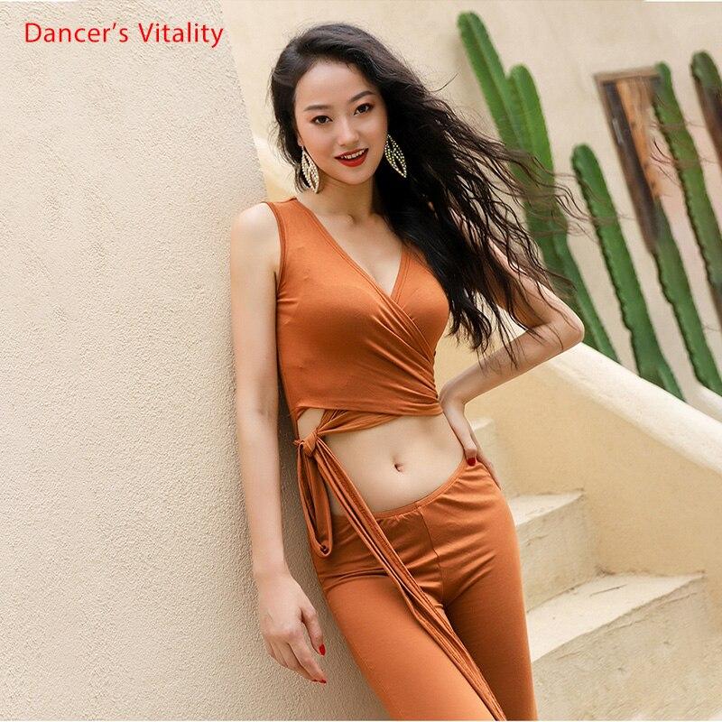 Uma Peça de Desgaste Dança Do Ventre Mulheres Modal Confortável Macacão Com Cinto Envoltório do Estiramento Prática Traje Sexy V Neck Strap top calças