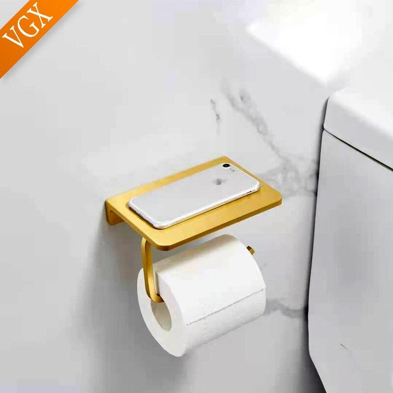 VGX ريترو الهاتف مناديل حمام أصحاب ورقة مع الجرف جدار جبل WC الأنسجة هاندر للحمام دش الذهبي ماتي الأسود T2506