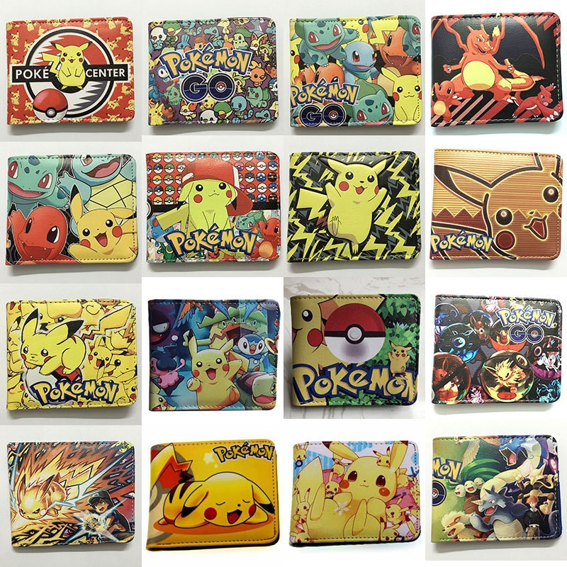 TAKARA TOMY Anime Pokemon Short Wallet Pikachu Eevee Snorlax PU Leather Coin Purse Wallet anime purses and handbags