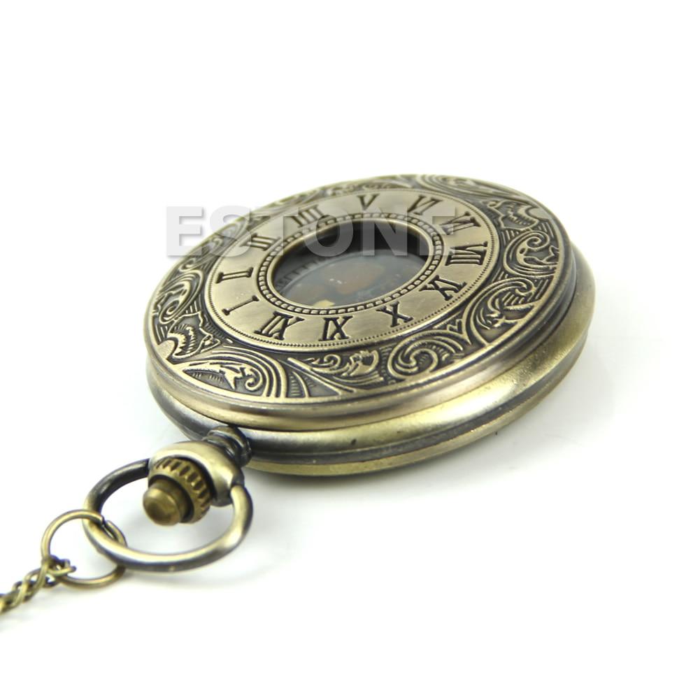 652F Vintage Steampunk Retro Bronze Design Pocket Watch Quartz Pendant Necklace Gift