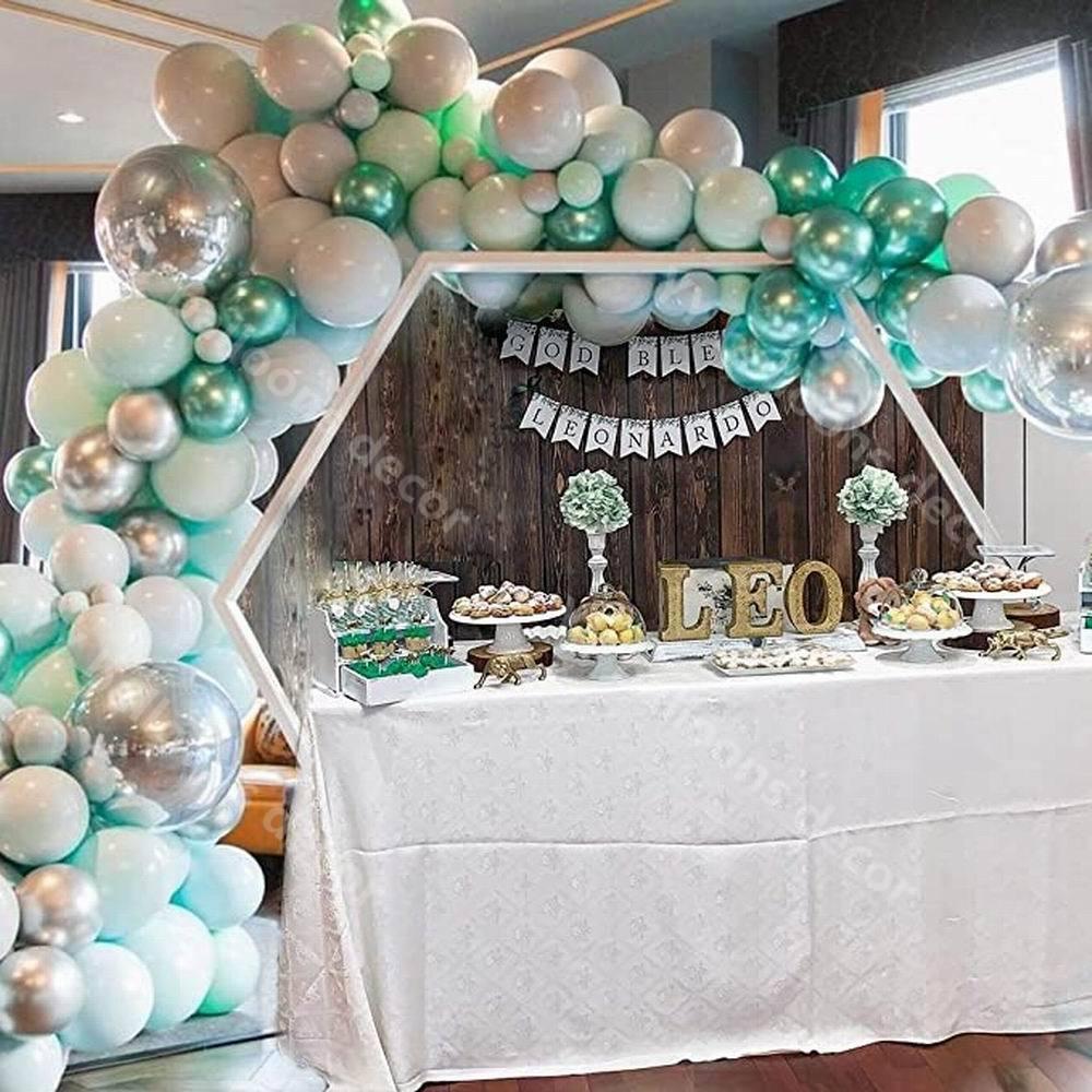 Diy kit guirlanda verde azul cinza cromo metálico macaron 1 festa de aniversário do casamento chá de bebê nupcial decoratio