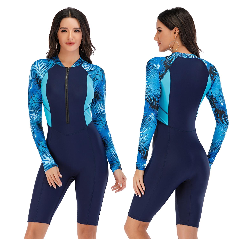 Long sleeve Swimsuit Rashguard Women Surfing Swimwear Diving Print swimming diving suit for women Bodysuit Rash Guard