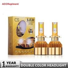 LED عالية السطوع مزدوجة اللون المصابيح الأمامية كيت H1 H3 H4 HB2 9003 H7 H11 H8 H9 9005 HB3 H10 9006 HB4 880 881 H27 76W