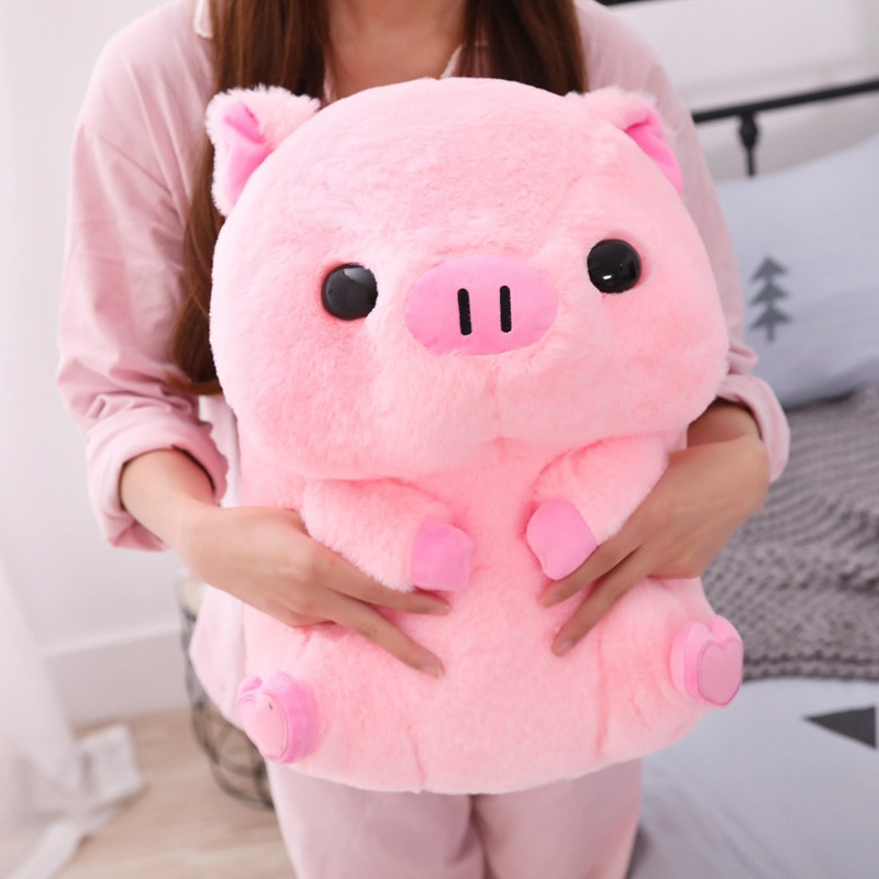 2020 Pink Sitting Pig Big Head Piggy Stuffed Doll Huggable Animal Plush Toy Kids Sleeping Companion Appeasing Plushie 40/50cm недорого