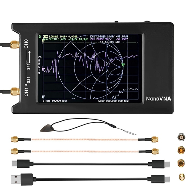 NanoVNA-H4 Vector-محلل شبكة 10KHz-1.5GHz HF VHF UHF ، مع شاشة LCD ، Sn Nano VNA